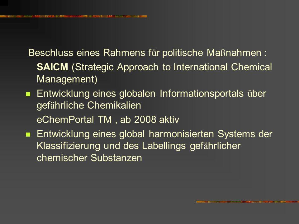 Beschluss eines Rahmens f ü r politische Ma ß nahmen : SAICM (Strategic Approach to International Chemical Management) Entwicklung eines globalen Info
