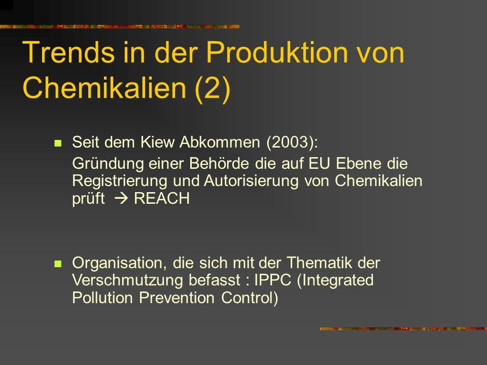 Trends in der Produktion von Chemikalien (2) Seit dem Kiew Abkommen (2003): Gründung einer Behörde die auf EU Ebene die Registrierung und Autorisierun
