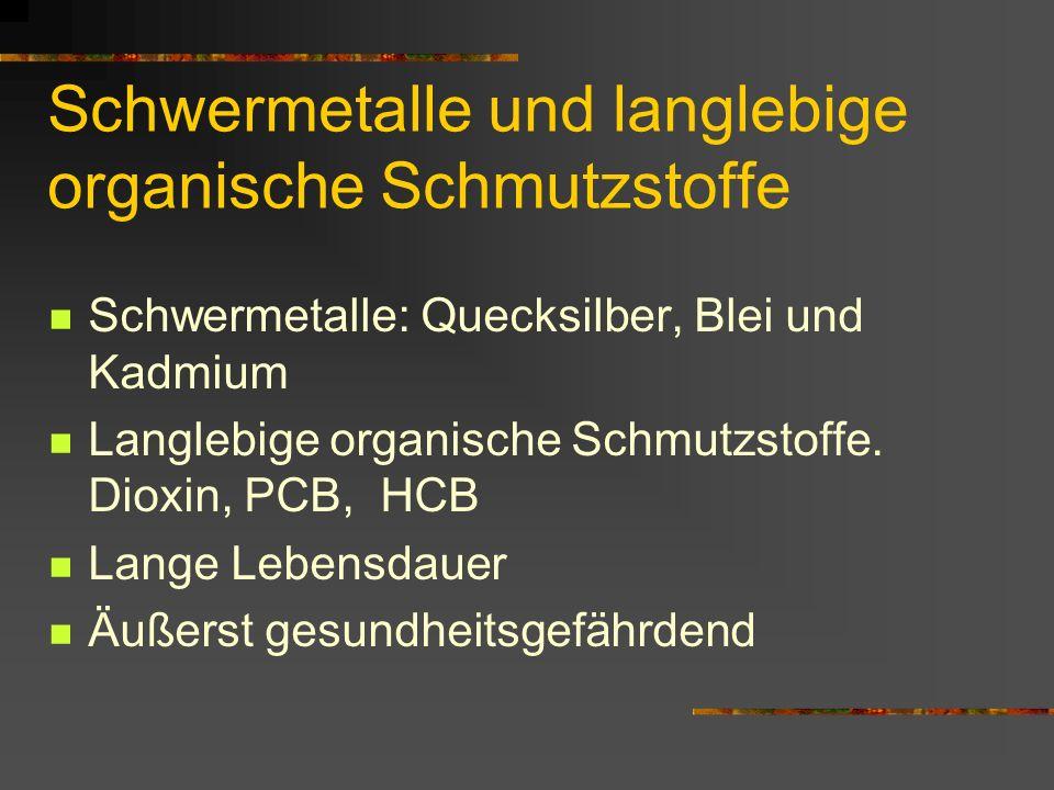 Schwermetalle und langlebige organische Schmutzstoffe Schwermetalle: Quecksilber, Blei und Kadmium Langlebige organische Schmutzstoffe. Dioxin, PCB, H