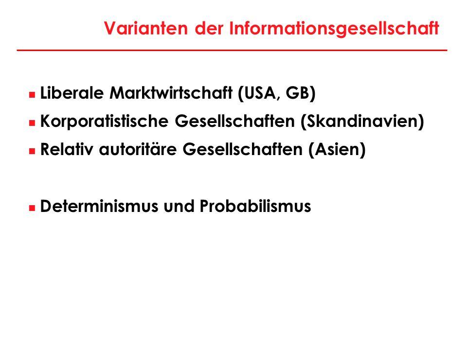 Varianten der Informationsgesellschaft Liberale Marktwirtschaft (USA, GB) Korporatistische Gesellschaften (Skandinavien) Relativ autoritäre Gesellscha