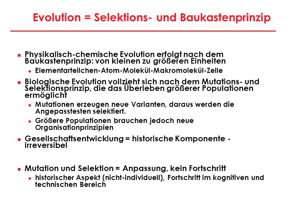 Evolution = Selektions- und Baukastenprinzip Physikalisch-chemische Evolution erfolgt nach dem Baukastenprinzip: von kleinen zu größeren Einheiten Ele