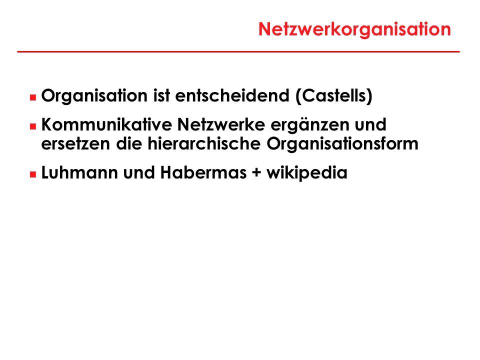 Netzwerkorganisation Organisation ist entscheidend (Castells) Kommunikative Netzwerke ergänzen und ersetzen die hierarchische Organisationsform Luhman