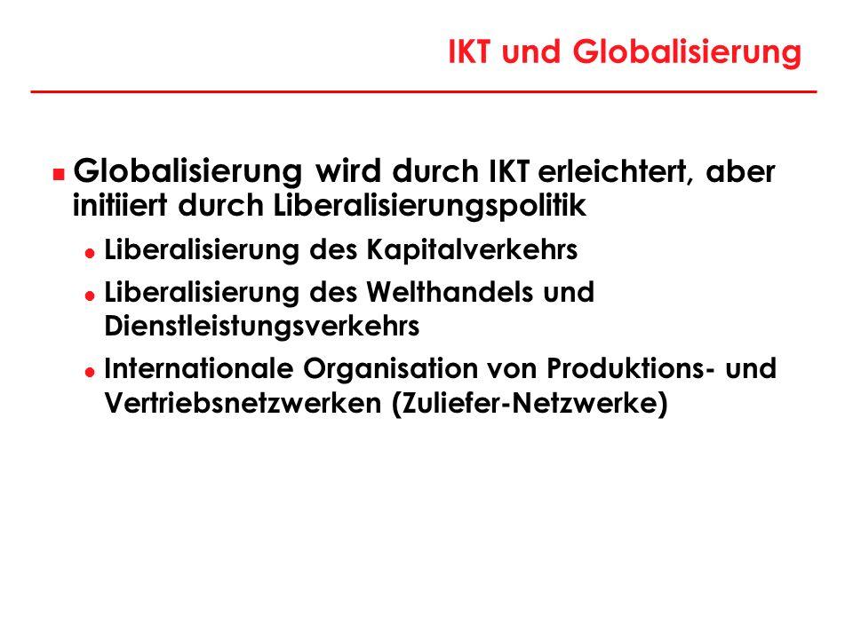 IKT und Globalisierung Globalisierung wird d urch IKT erleichtert, aber initiiert durch Liberalisierungspolitik Liberalisierung des Kapitalverkehrs Li