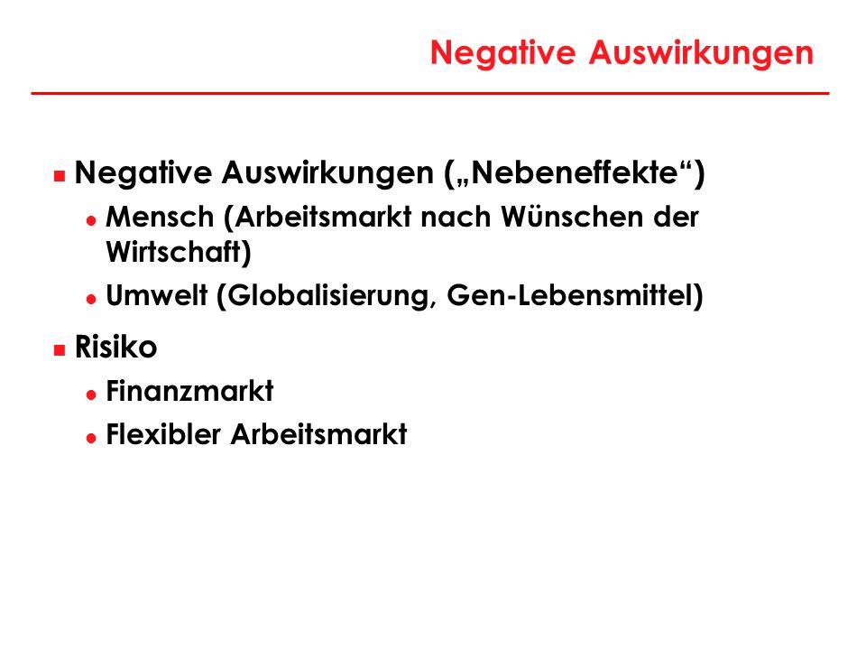 Negative Auswirkungen Negative Auswirkungen (Nebeneffekte) Mensch (Arbeitsmarkt nach Wünschen der Wirtschaft) Umwelt (Globalisierung, Gen-Lebensmittel