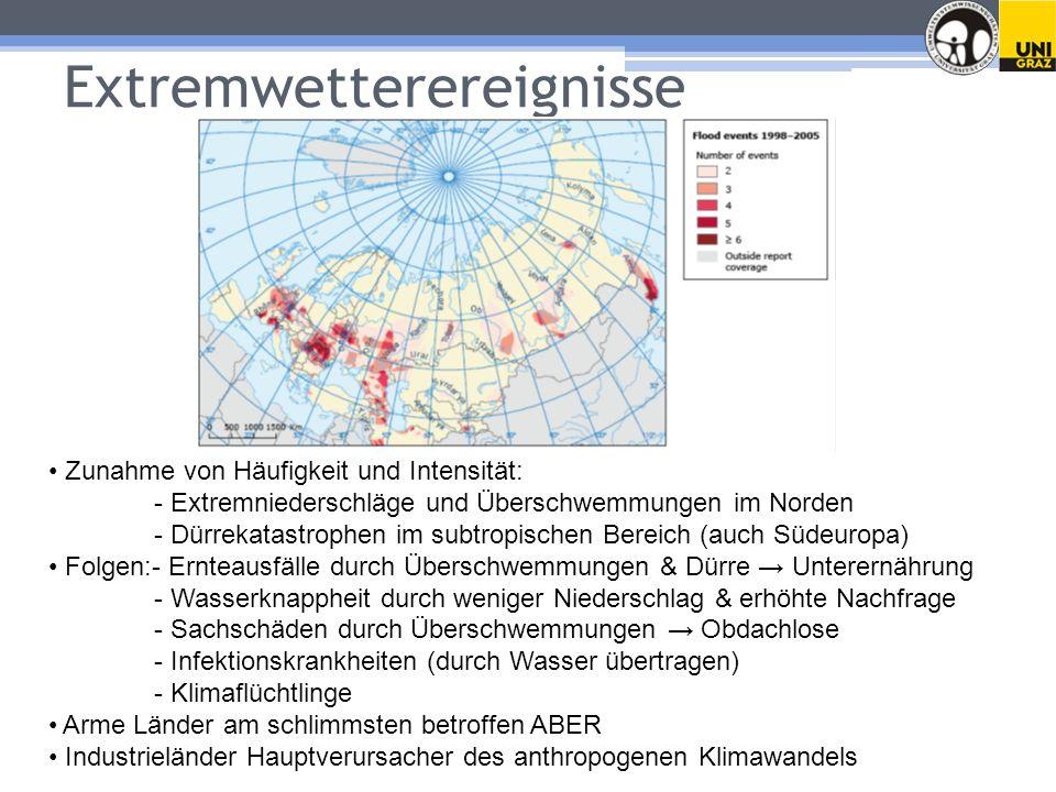Extremwetterereignisse Zunahme von Häufigkeit und Intensität: - Extremniederschläge und Überschwemmungen im Norden - Dürrekatastrophen im subtropischen Bereich (auch Südeuropa) Folgen:- Ernteausfälle durch Überschwemmungen & Dürre Unterernährung - Wasserknappheit durch weniger Niederschlag & erhöhte Nachfrage - Sachschäden durch Überschwemmungen Obdachlose - Infektionskrankheiten (durch Wasser übertragen) - Klimaflüchtlinge Arme Länder am schlimmsten betroffen ABER Industrieländer Hauptverursacher des anthropogenen Klimawandels