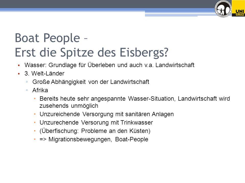 Boat People – Erst die Spitze des Eisbergs.Wasser: Grundlage für Überleben und auch v.a.