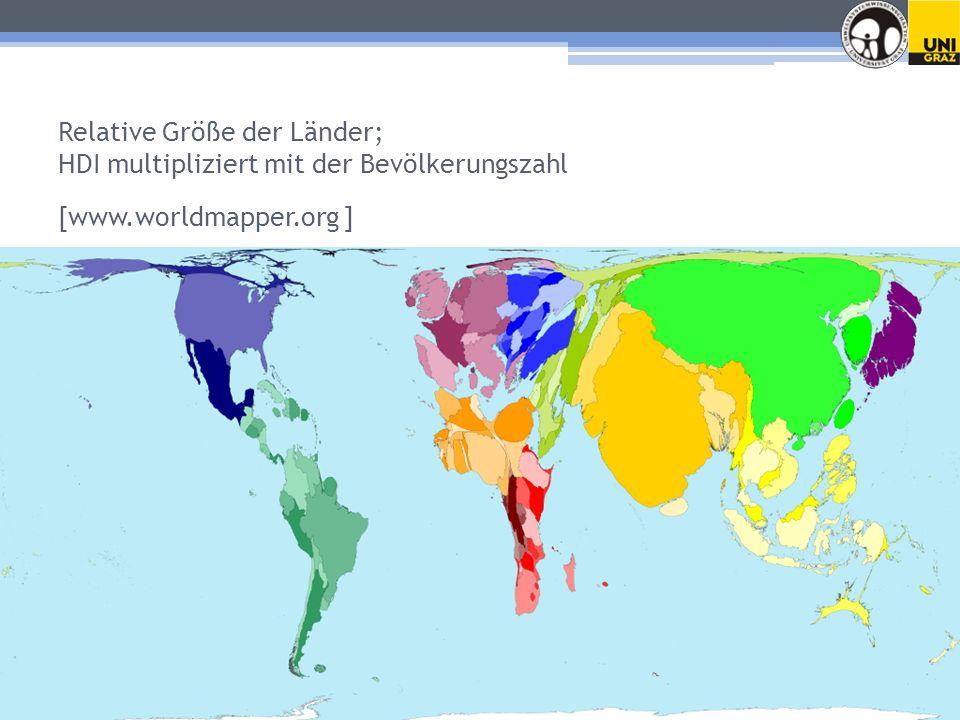 Relative Größe der Länder; HDI multipliziert mit der Bevölkerungszahl [www.worldmapper.org ]