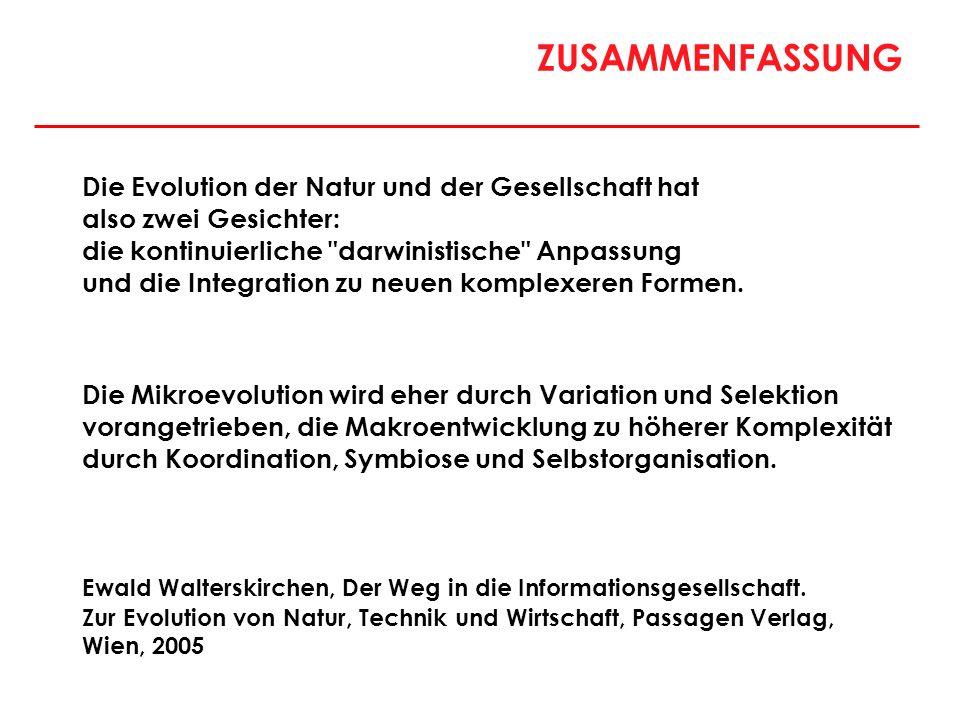 ZUSAMMENFASSUNG Die Evolution der Natur und der Gesellschaft hat also zwei Gesichter: die kontinuierliche