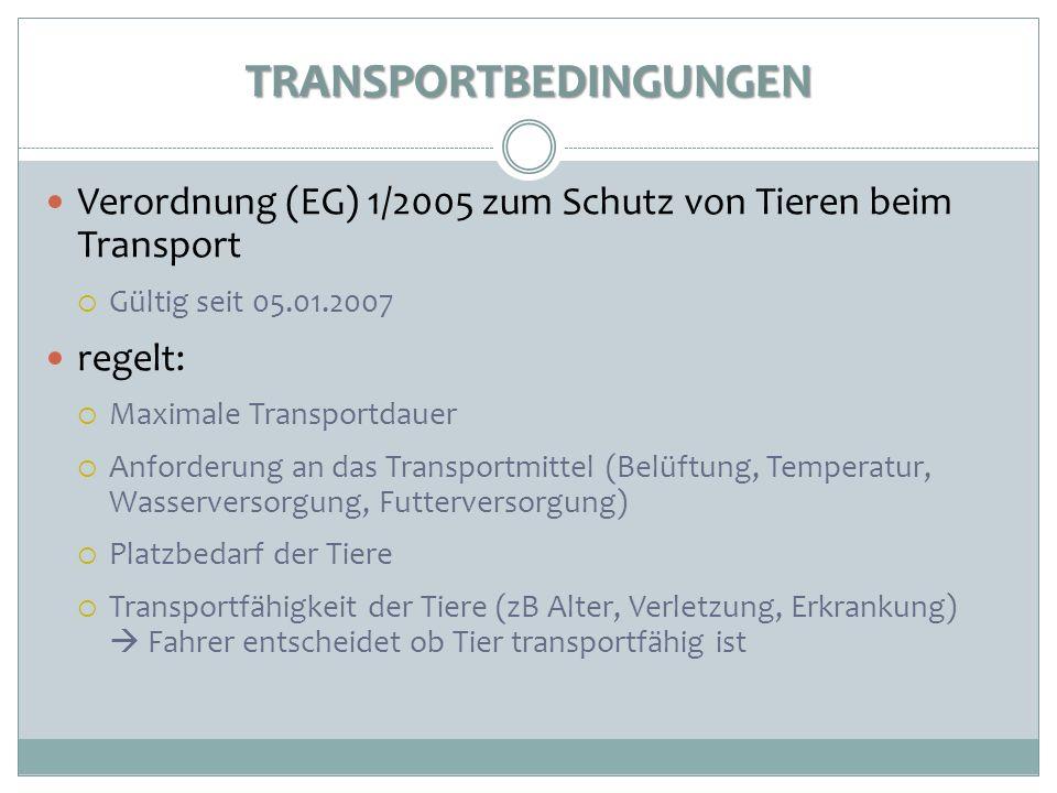 TRANSPORTBEDINGUNGEN Verordnung (EG) 1/2005 zum Schutz von Tieren beim Transport Gültig seit 05.01.2007 regelt: Maximale Transportdauer Anforderung an