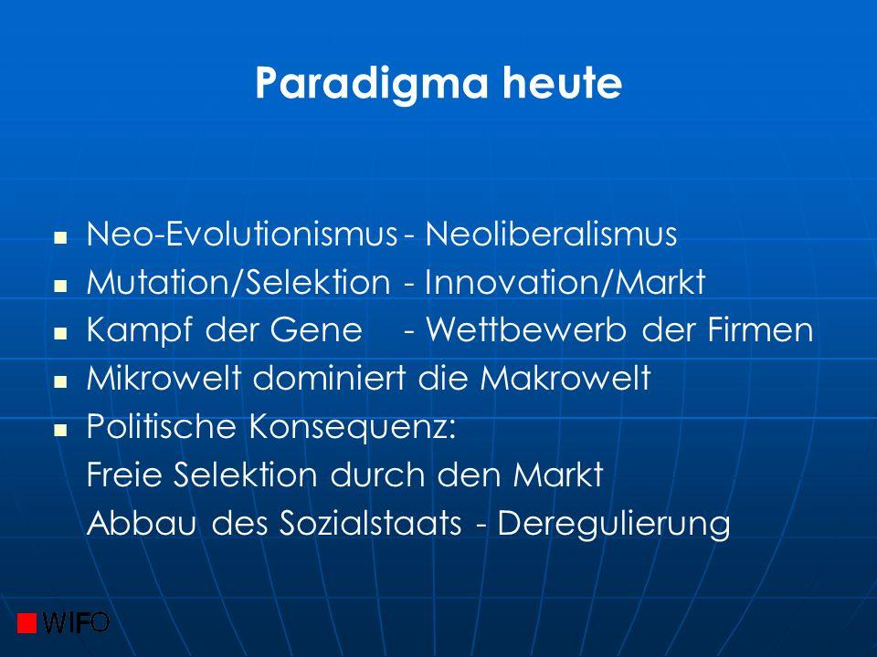 Paradigma heute Neo-Evolutionismus- Neoliberalismus Mutation/Selektion- Innovation/Markt Kampf der Gene - Wettbewerb der Firmen Mikrowelt dominiert die Makrowelt Politische Konsequenz: Freie Selektion durch den Markt Abbau des Sozialstaats - Deregulierung