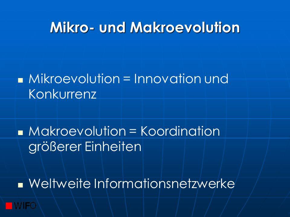Mikro- und Makroevolution Mikroevolution = Innovation und Konkurrenz Makroevolution = Koordination größerer Einheiten Weltweite Informationsnetzwerke