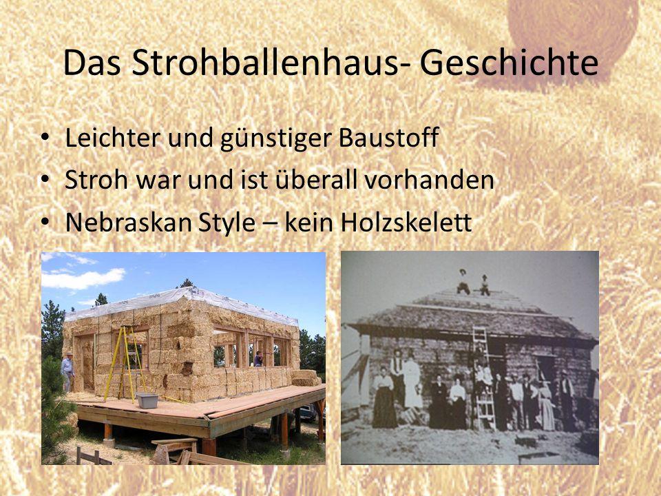 Das Strohballenhaus- Geschichte Leichter und günstiger Baustoff Stroh war und ist überall vorhanden Nebraskan Style – kein Holzskelett