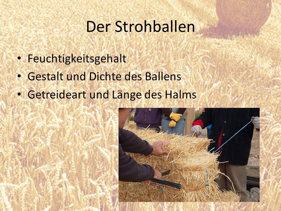 Der Strohballen Feuchtigkeitsgehalt Gestalt und Dichte des Ballens Getreideart und Länge des Halms