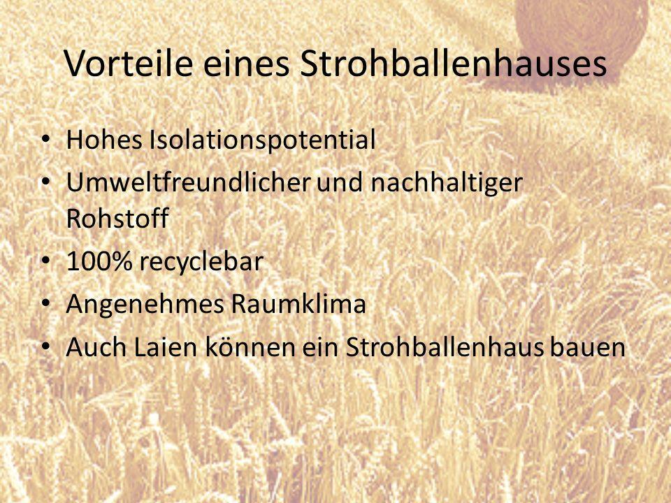 Vorteile eines Strohballenhauses Hohes Isolationspotential Umweltfreundlicher und nachhaltiger Rohstoff 100% recyclebar Angenehmes Raumklima Auch Laie