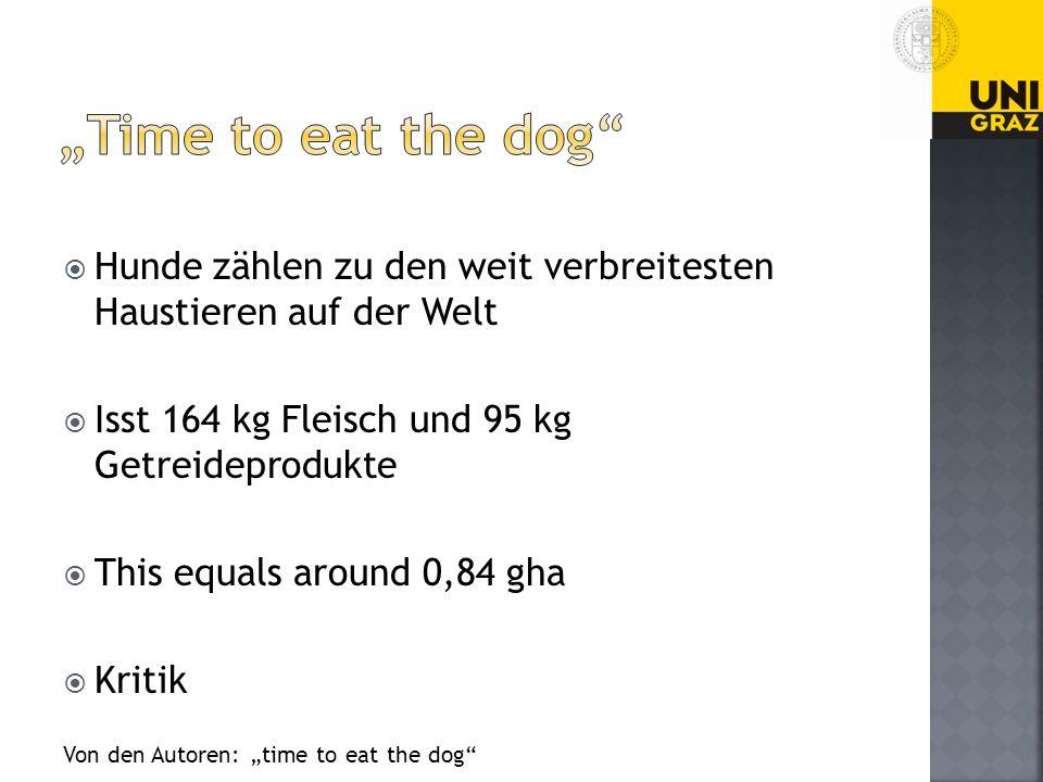 Hunde zählen zu den weit verbreitesten Haustieren auf der Welt Isst 164 kg Fleisch und 95 kg Getreideprodukte This equals around 0,84 gha Kritik Von den Autoren: time to eat the dog