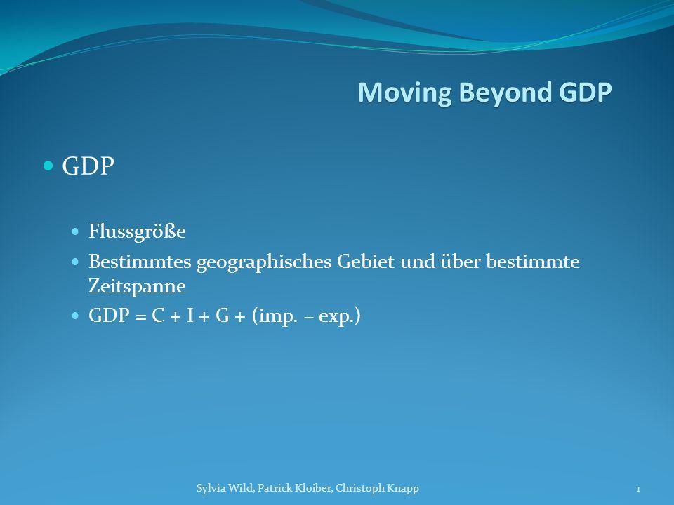 GDP Flussgröße Bestimmtes geographisches Gebiet und über bestimmte Zeitspanne GDP = C + I + G + (imp.