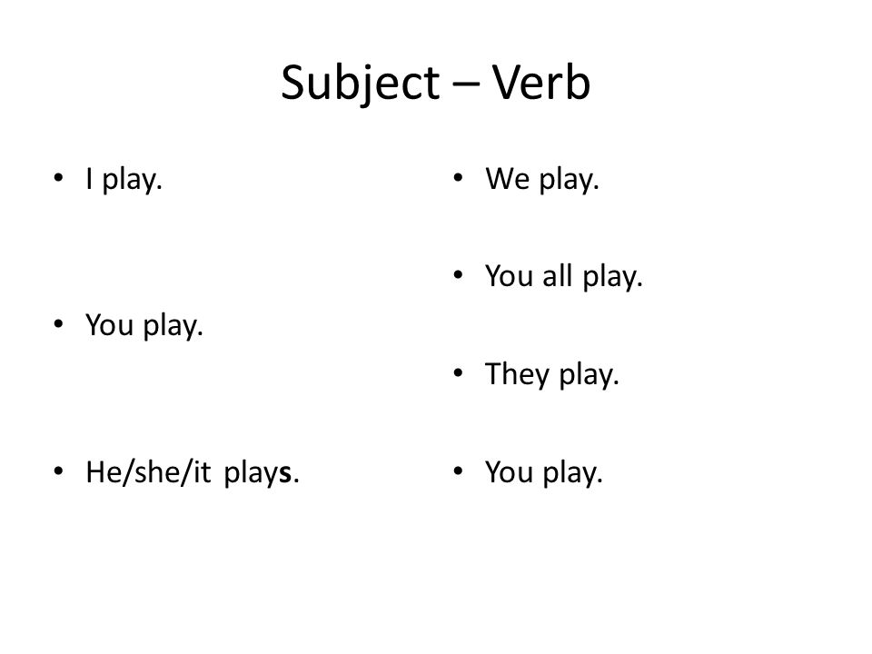 Subject – Verb I play. You play. He/she/it plays. We play. You all play. They play. You play.