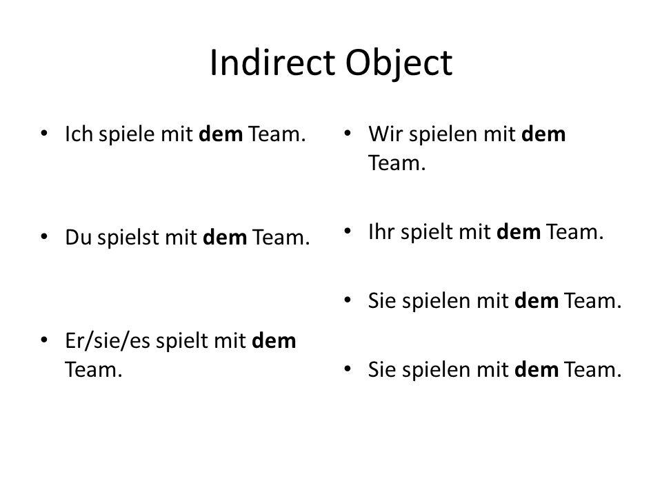 Indirect Object Ich spiele mit dem Team. Du spielst mit dem Team.