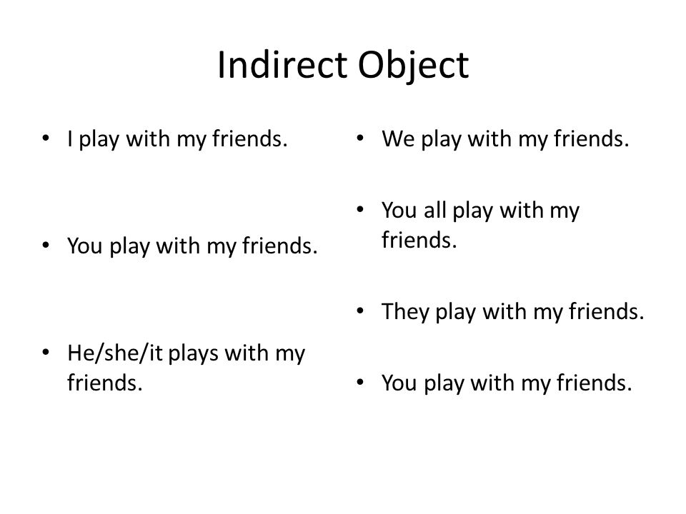 Indirect Object I play with my friends. You play with my friends. He/she/it plays with my friends. We play with my friends. You all play with my frien