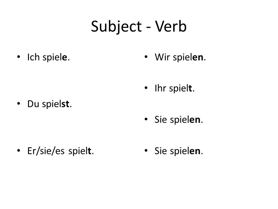 Subject – Verb – Direct Object I play for the team.