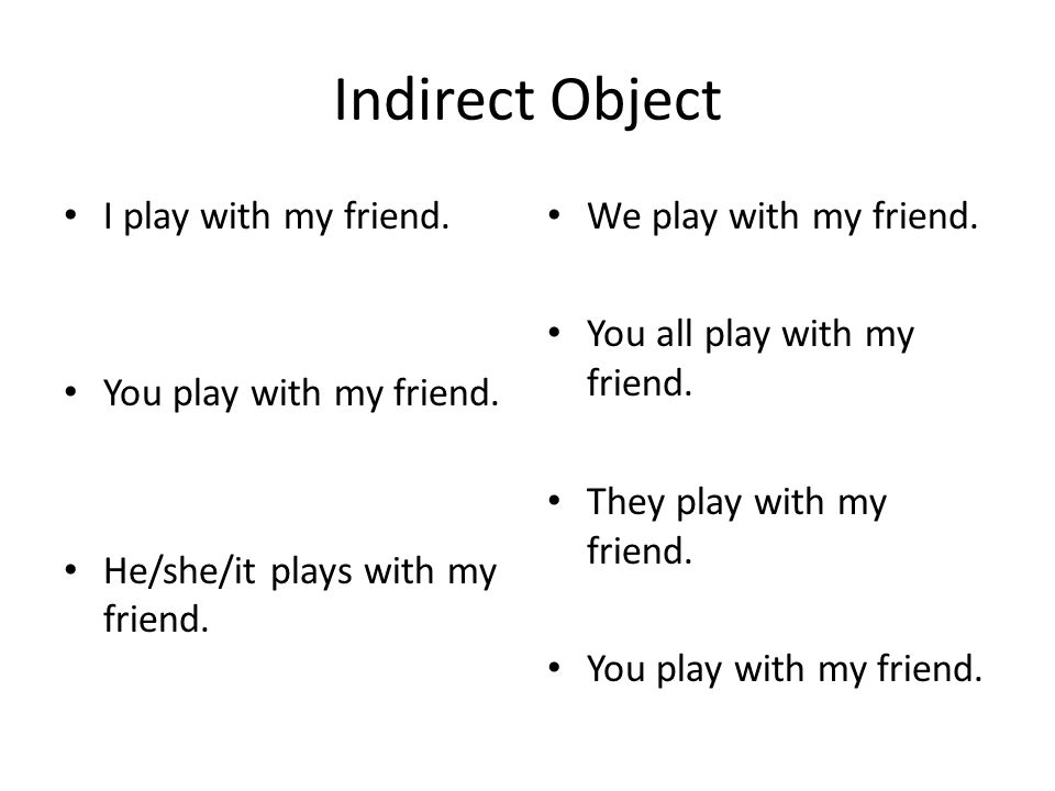 Indirect Object I play with my friend. You play with my friend. He/she/it plays with my friend. We play with my friend. You all play with my friend. T