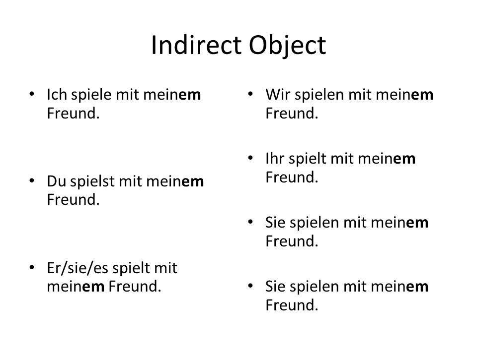 Indirect Object Ich spiele mit meinem Freund. Du spielst mit meinem Freund.