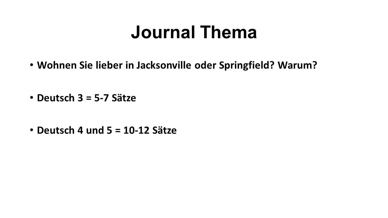 Journal Thema Wohnen Sie lieber in Jacksonville oder Springfield.