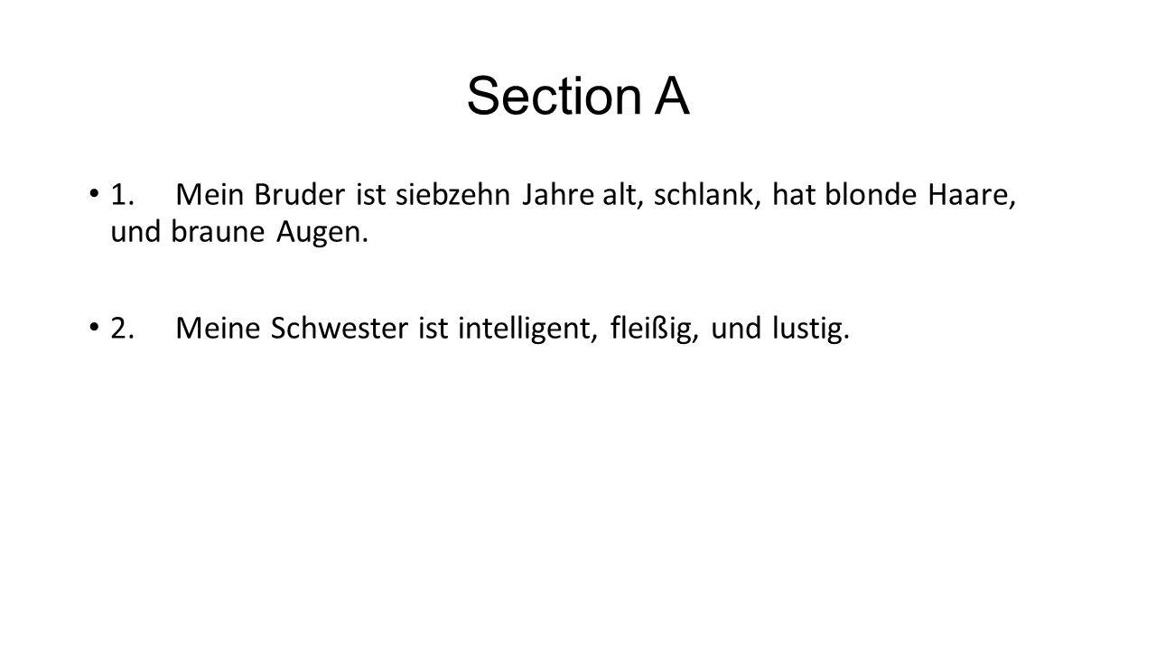 Section A 1.Mein Bruder ist siebzehn Jahre alt, schlank, hat blonde Haare, und braune Augen. 2.Meine Schwester ist intelligent, fleißig, und lustig.