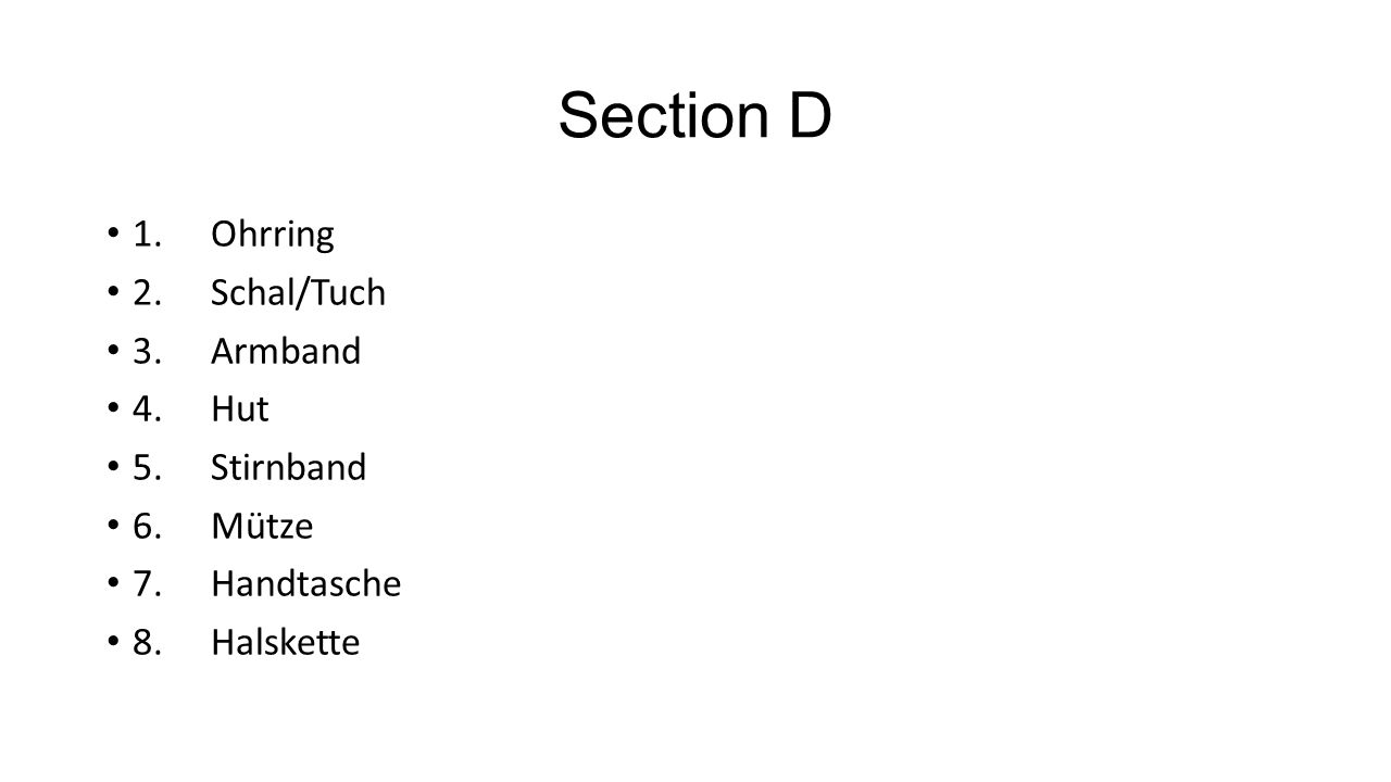 Section E 1.er 2.sie 3.es 4.ihn
