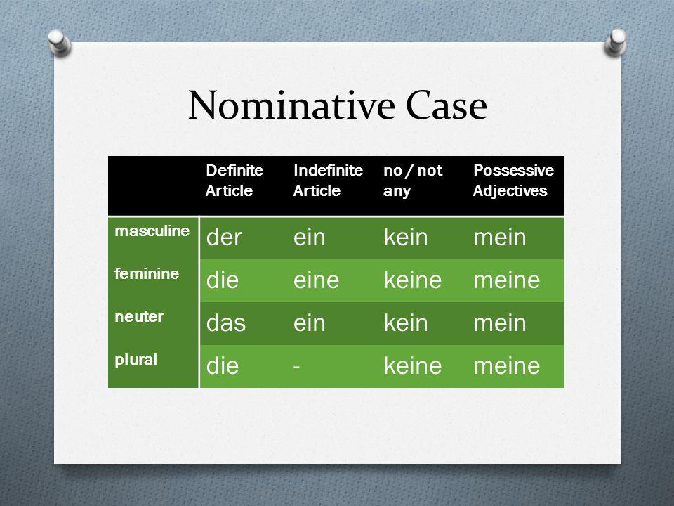 Accusative Case Definite Article Indefinite Article no / not any Possessive Adjectives masculine deneinenkeinenmeinen feminine dieeinekeinemeine neuter daseinkeinmein plural die-keinemeine