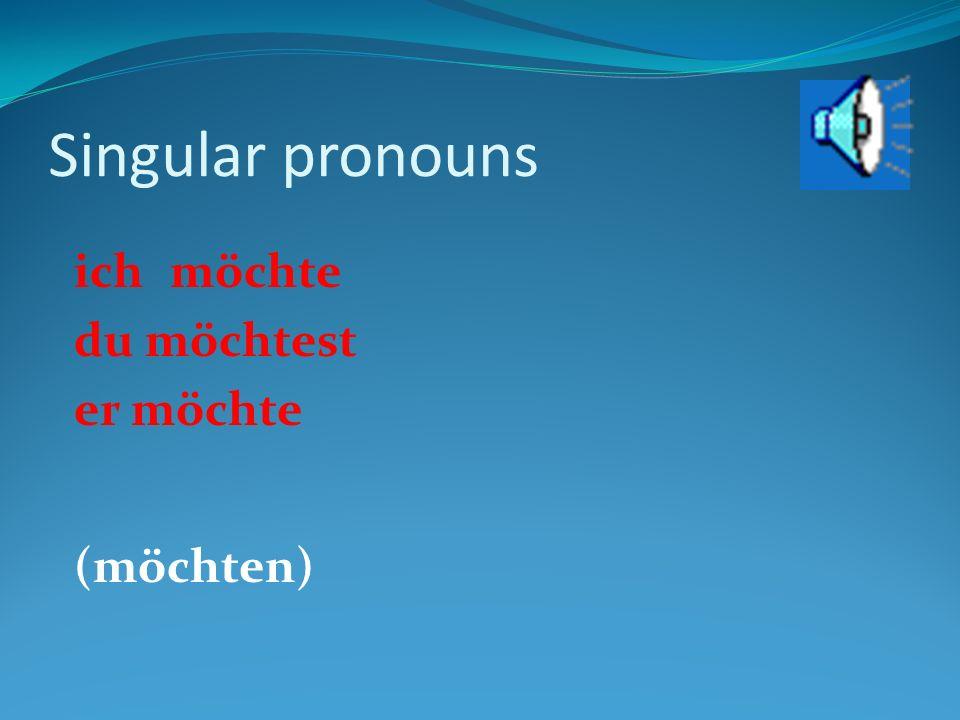 Singular pronouns ichmagich mussich darf du magstdu musstdu darfst er mager musser darf (mögen)(müssen)(dürfen)