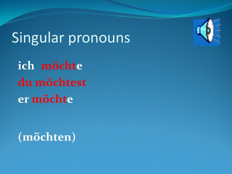 Singular pronouns ichmöchte du möchtest er möchte (möchten)