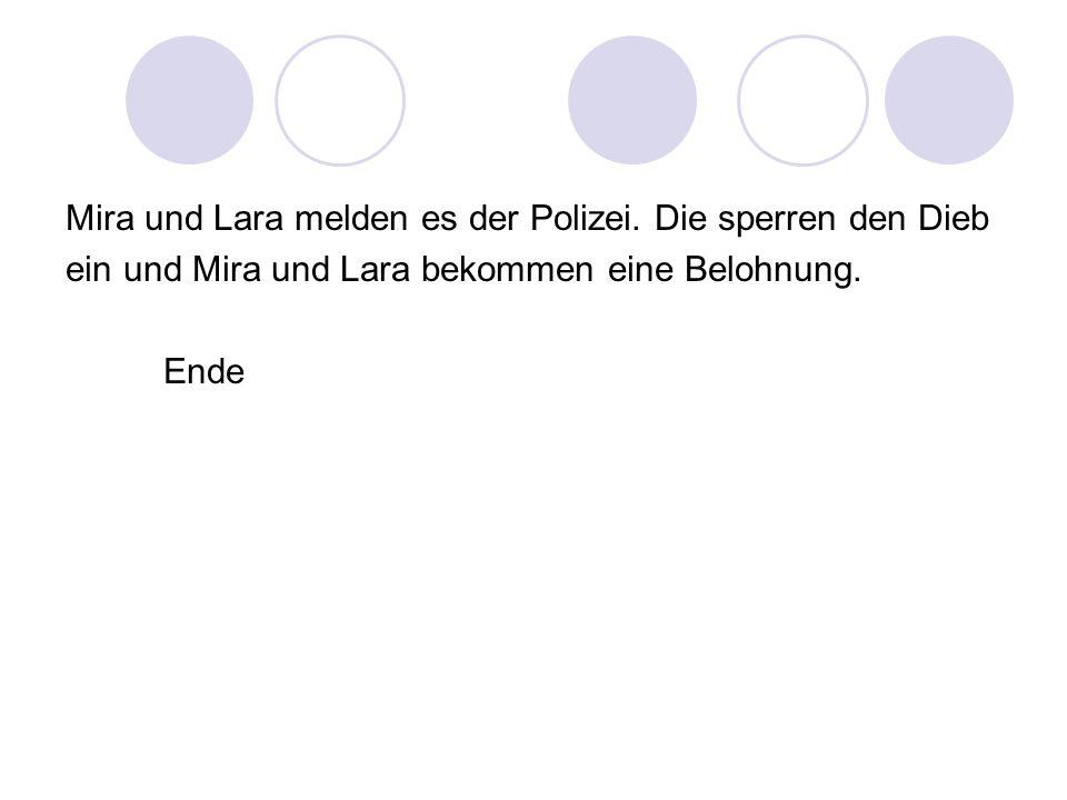Mira und Lara melden es der Polizei. Die sperren den Dieb ein und Mira und Lara bekommen eine Belohnung. Ende