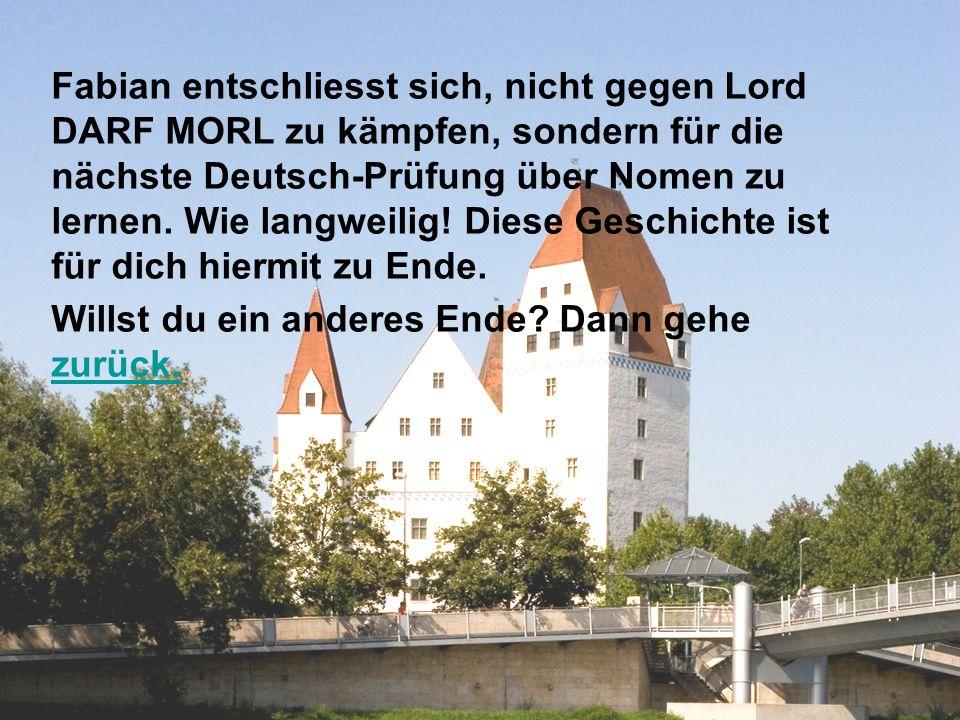 Fabian entschliesst sich, nicht gegen Lord DARF MORL zu kämpfen, sondern für die nächste Deutsch-Prüfung über Nomen zu lernen.