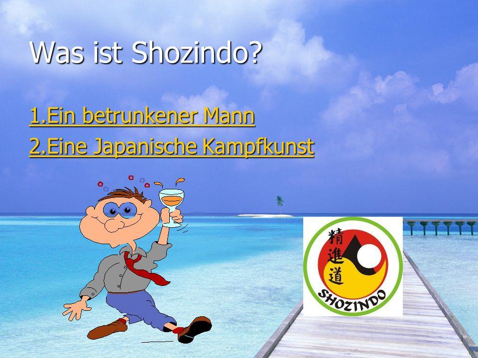 Was ist Shozindo? 1.Ein betrunkener Mann 1.Ein betrunkener Mann 2.Eine Japanische Kampfkunst 2.Eine Japanische Kampfkunst