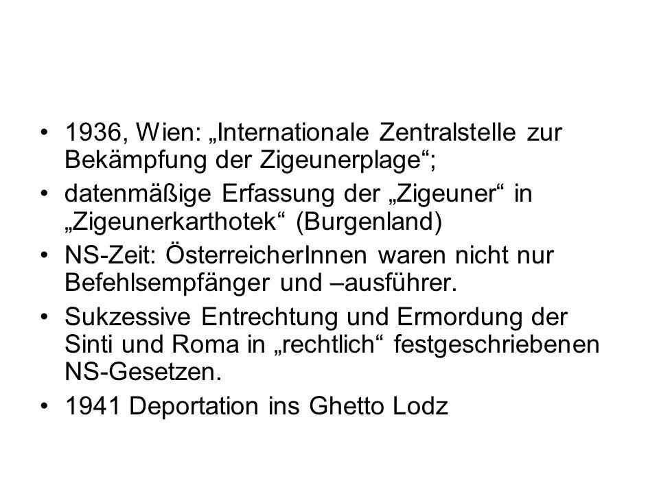 1936, Wien: Internationale Zentralstelle zur Bekämpfung der Zigeunerplage; datenmäßige Erfassung der Zigeuner in Zigeunerkarthotek (Burgenland) NS-Zei