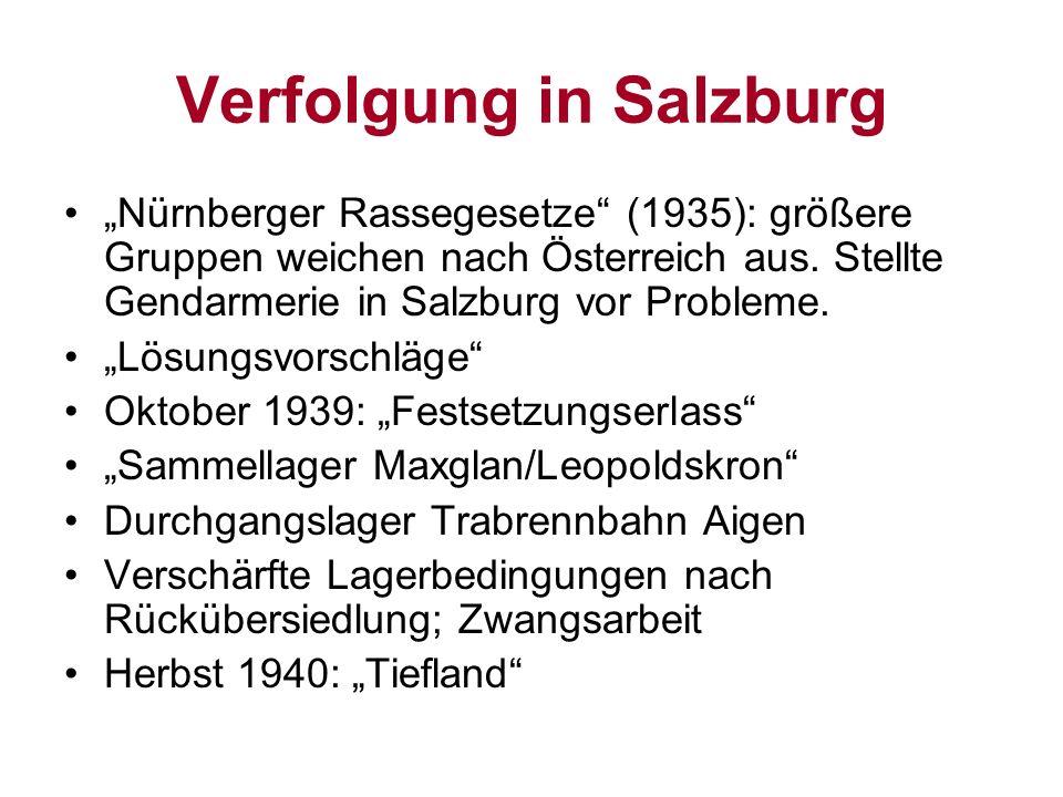 Verfolgung in Salzburg Nürnberger Rassegesetze (1935): größere Gruppen weichen nach Österreich aus. Stellte Gendarmerie in Salzburg vor Probleme. Lösu