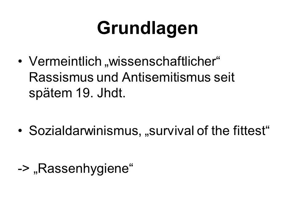 Grundlagen Vermeintlich wissenschaftlicher Rassismus und Antisemitismus seit spätem 19. Jhdt. Sozialdarwinismus, survival of the fittest -> Rassenhygi