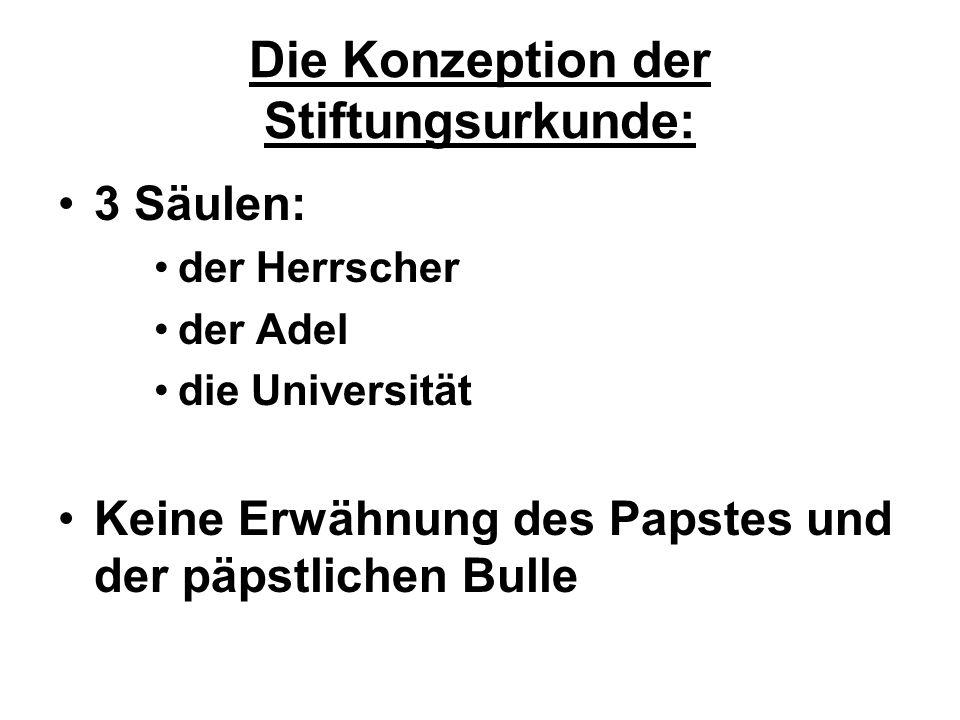 Die Konzeption der Stiftungsurkunde: 3 Säulen: der Herrscher der Adel die Universität Keine Erwähnung des Papstes und der päpstlichen Bulle