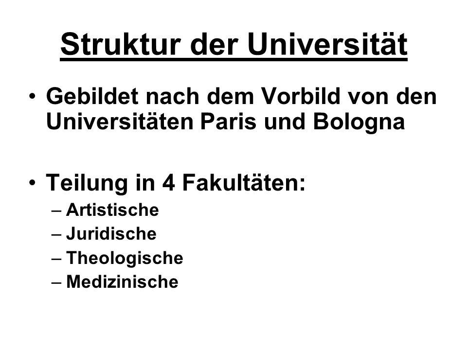 Struktur der Universität Gebildet nach dem Vorbild von den Universitäten Paris und Bologna Teilung in 4 Fakultäten: –Artistische –Juridische –Theologi