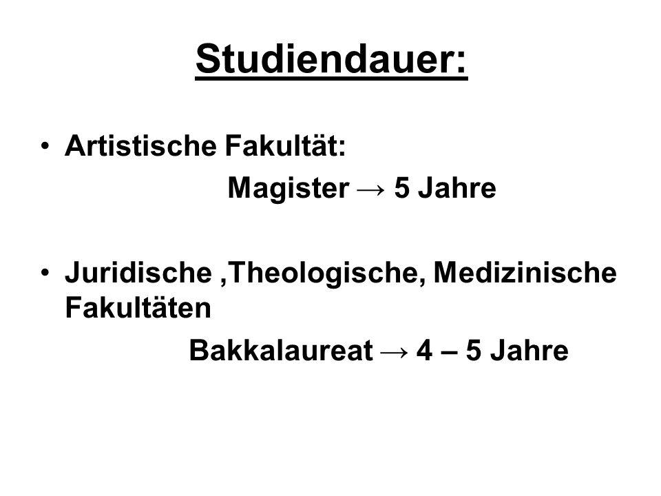 Studiendauer: Artistische Fakultät: Magister 5 Jahre Juridische,Theologische, Medizinische Fakultäten Bakkalaureat 4 – 5 Jahre