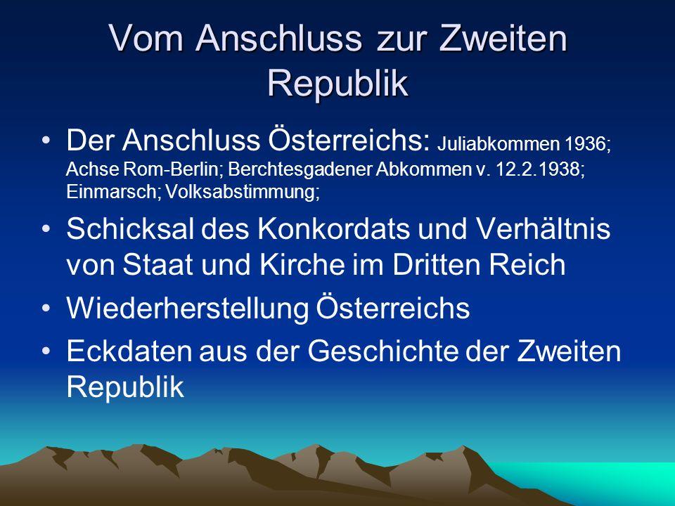 Vom Anschluss zur Zweiten Republik Der Anschluss Österreichs: Juliabkommen 1936; Achse Rom-Berlin; Berchtesgadener Abkommen v. 12.2.1938; Einmarsch; V