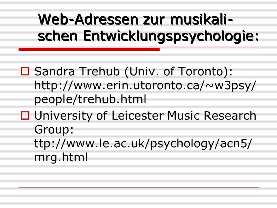 Web-Adressen zur musikali- schen Entwicklungspsychologie: Sandra Trehub (Univ. of Toronto): http://www.erin.utoronto.ca/~w3psy/ people/trehub.html Uni