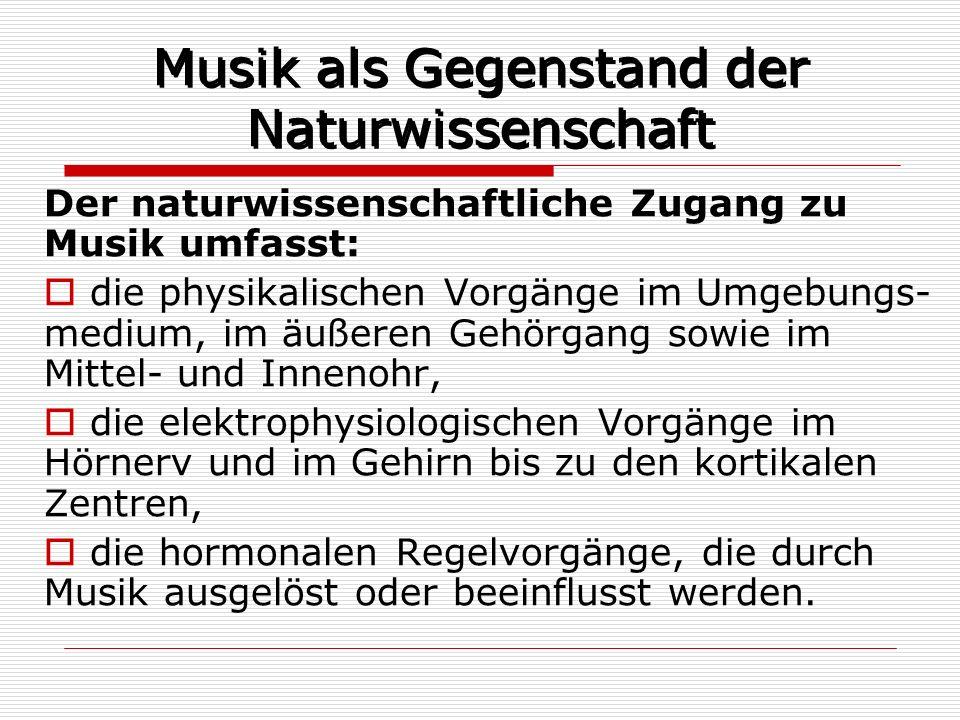 Musik als Gegenstand der Naturwissenschaft Der naturwissenschaftliche Zugang zu Musik umfasst: die physikalischen Vorgänge im Umgebungs- medium, im äu