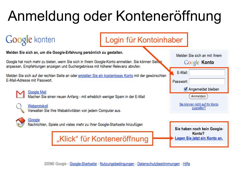 Anmeldung oder Konteneröffnung Login für Kontoinhaber Klick für Konteneröffnung