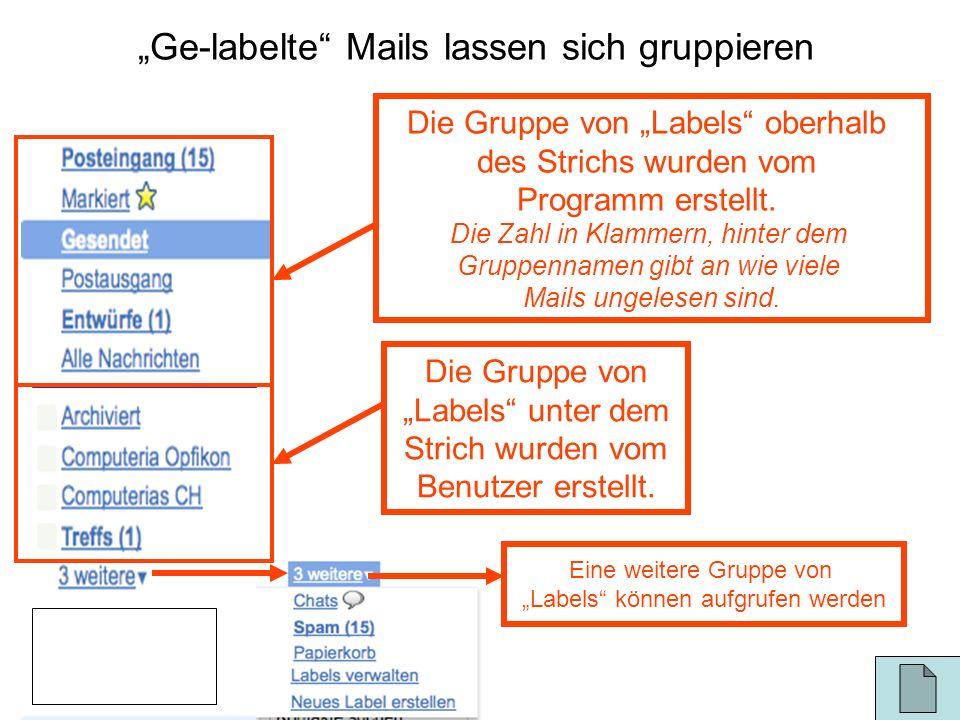 Ge-labelte Mails lassen sich gruppieren Die Gruppe von Labels oberhalb des Strichs wurden vom Programm erstellt. Die Zahl in Klammern, hinter dem Grup