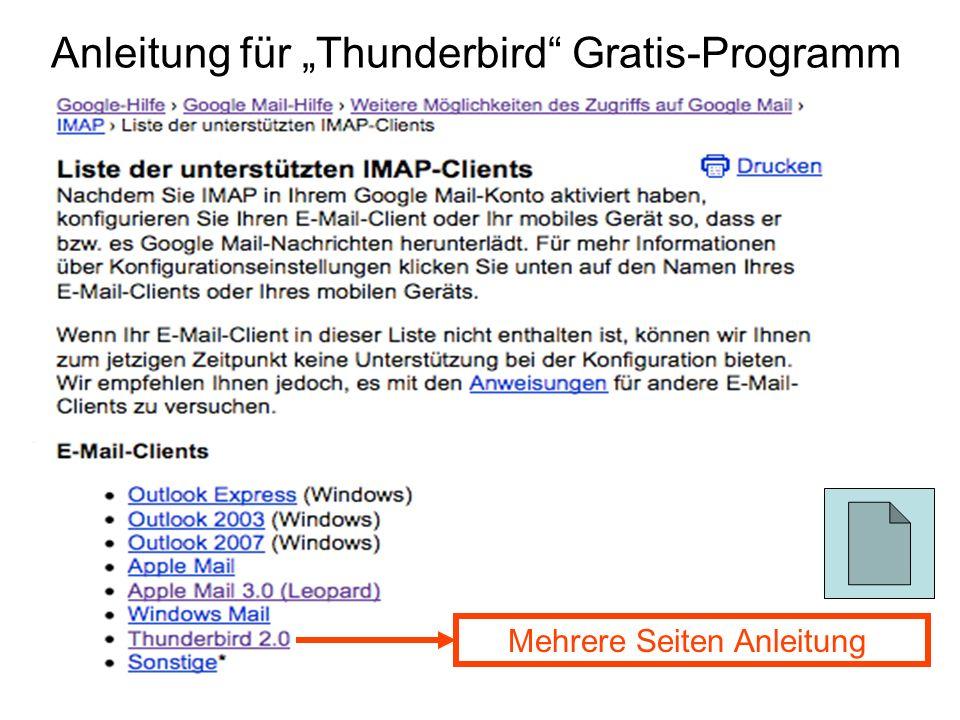 Anleitung für Thunderbird Gratis-Programm Mehrere Seiten Anleitung