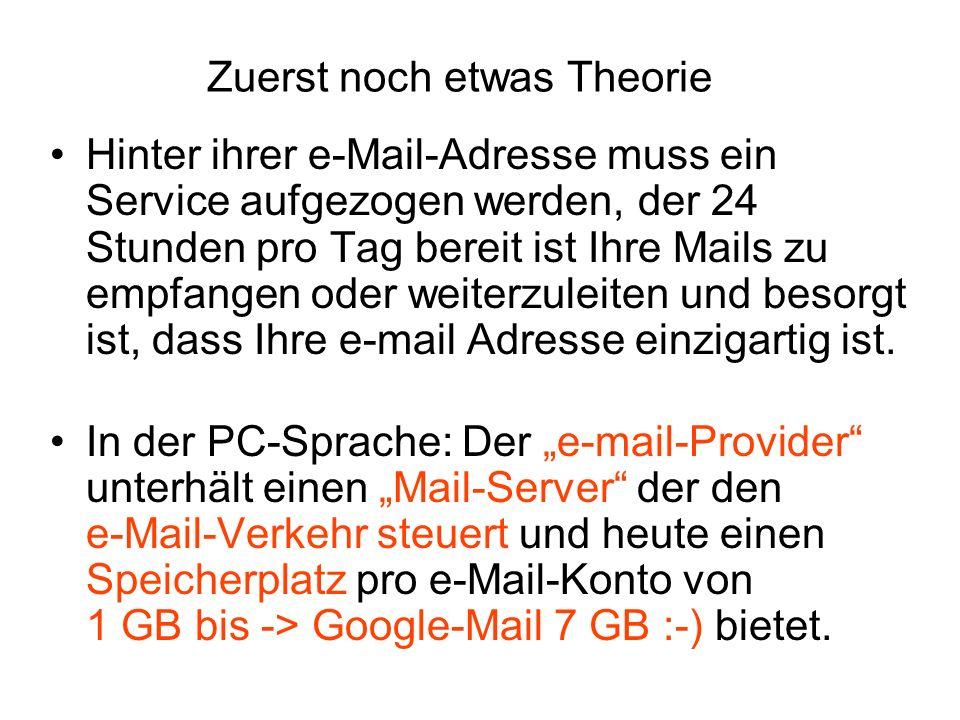 Zuerst noch etwas Theorie Hinter ihrer e-Mail-Adresse muss ein Service aufgezogen werden, der 24 Stunden pro Tag bereit ist Ihre Mails zu empfangen od