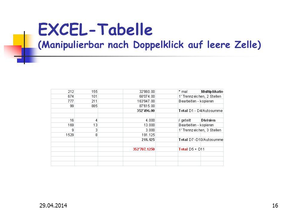 29.04.201416 EXCEL-Tabelle (Manipulierbar nach Doppelklick auf leere Zelle)