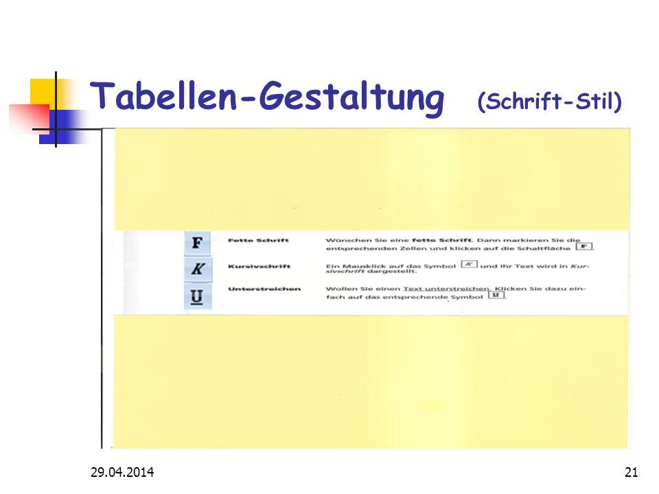 29.04.201421 Tabellen-Gestaltung (Schrift-Stil)